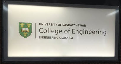 Framed picture of logo and text of University of Saskatchewan College of Engineering