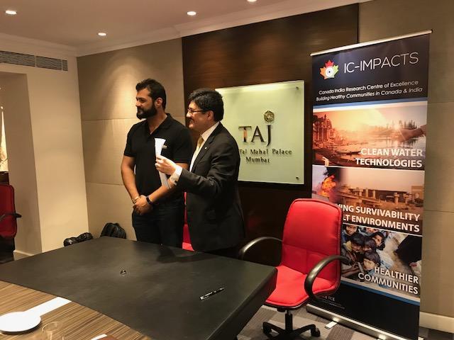 Photo of IC-IMPACTS CEO Dr. Nemy Banthia and SenseIndia's Danush Doongaji after signing Memorandum of Understanding