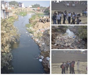 Collage of four photos depicting site visit of Ghat on Ganga River