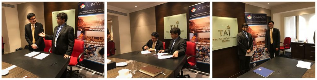 Photo of Raju Goteti, VP Tata Consultancy Services (TCS) Coin Innovation Network (COIN), at left, and IC-IMPACTS CEO Dr. Nemy Banthia, at right, sign Memorandum of Understanding on mobility of Canadian graduate students.