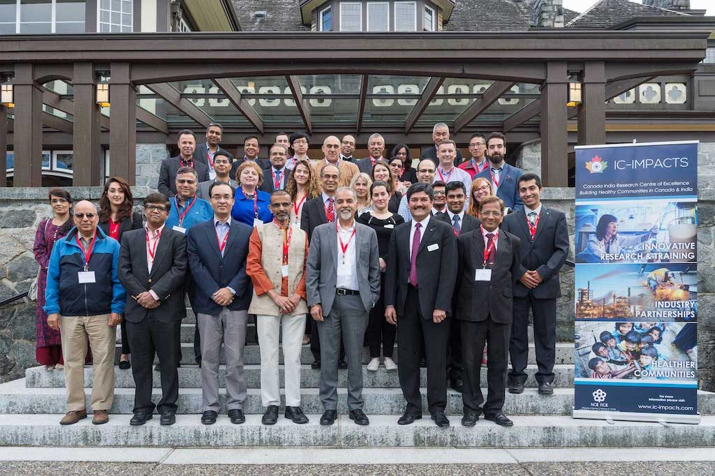 Attendees of the June 13, 2018 Special Session of IC-IMPACTS— Gateway to India, Innovation, and Economic Development stand on steps at Cecil Green Park House at the UBC Vancouver Campus