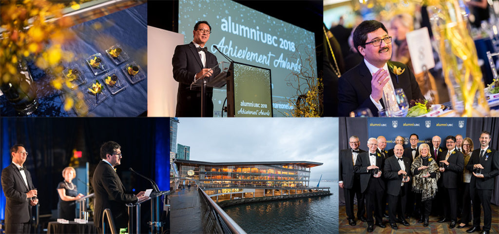 Collage of pictures of 2018 alumni UBC Achievement Awards
